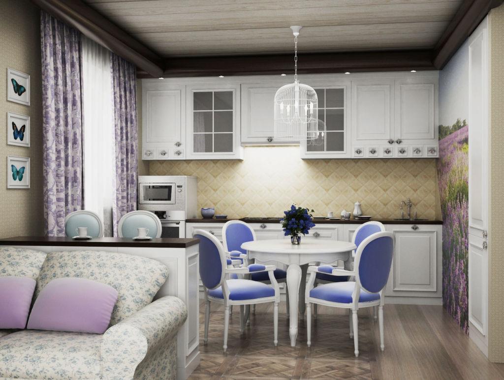 Гостиная кухня в стиле прованс