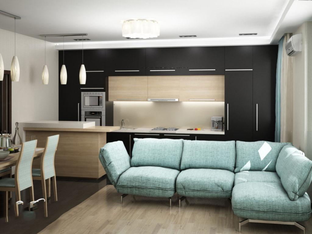 Кухня гостиная в стиле хай-тек