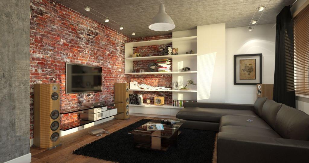 Вариант декорирования стен гостиной в стиле лофт