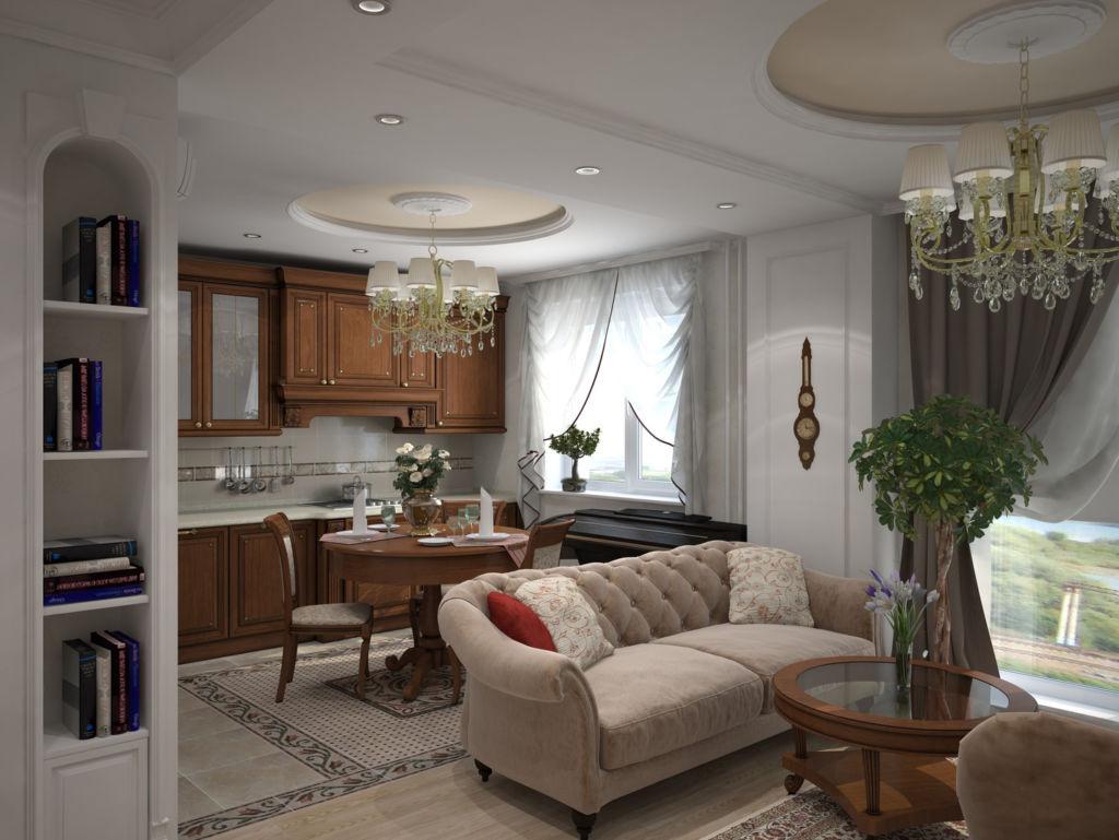 Классический стиль в интерьере гостиной, совмещённой с кухней