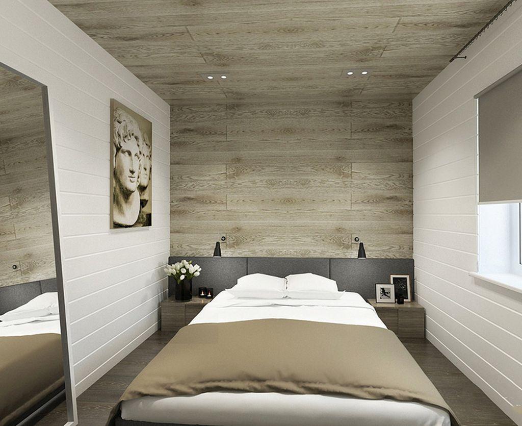 Интересно смотрится вариант отделки стены и потолка одним видом ламината