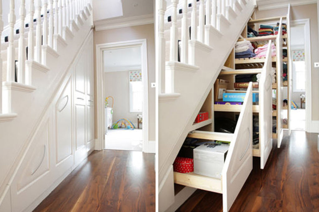 5 видов шкафов под лестницей и варианты обустройства свободного пространства