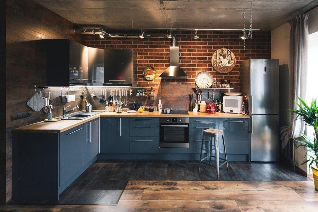 кухня-гостиной в стиле лофт
