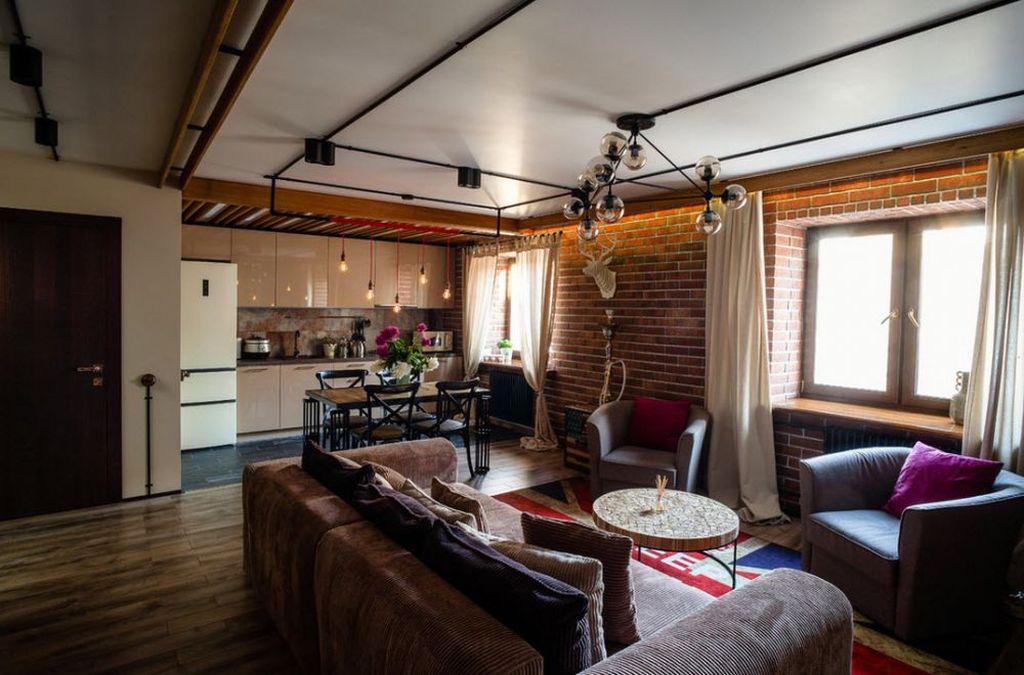 22 фото дизайна и цветовых решений для кухни-гостиной в стиле лофт