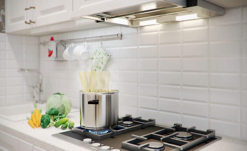 При совмещении кухни и гостиной нужно позаботиться о качественной вытяжке