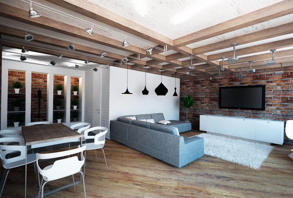 Потолки часто оставляют без отделки