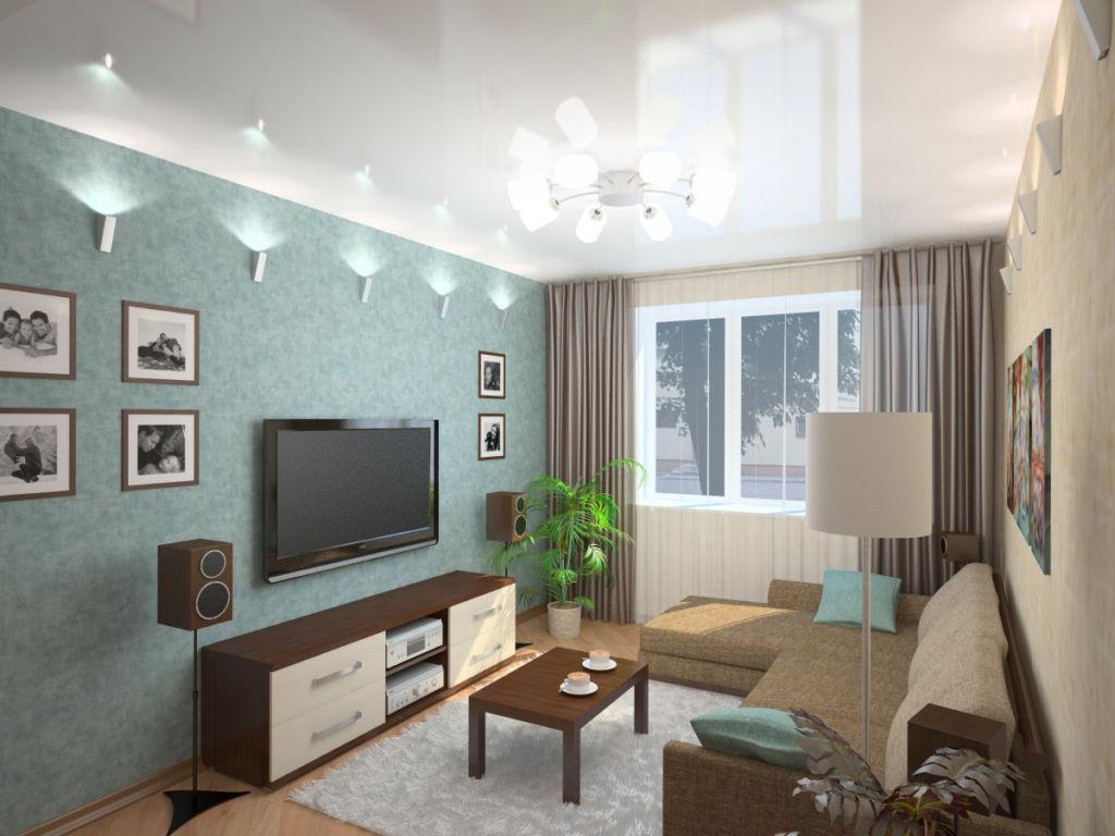 Противоположные стены комнаты в разных оттенках зрительно расширяют помещение