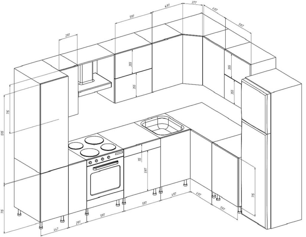 Стандартные размеры угловой кухни