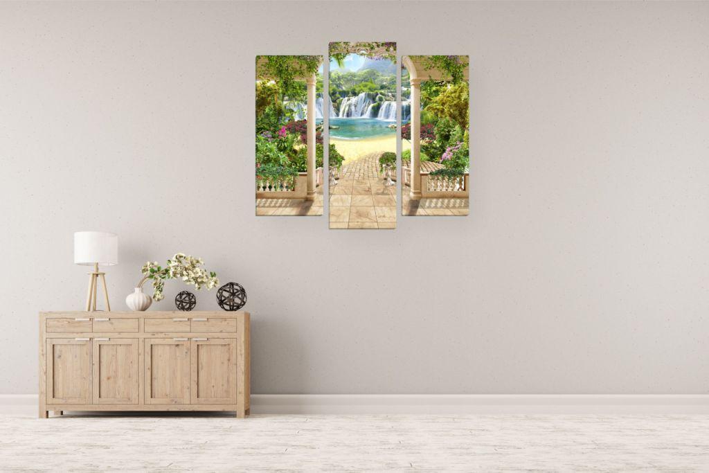 Модульные картины окно с видом на водопад