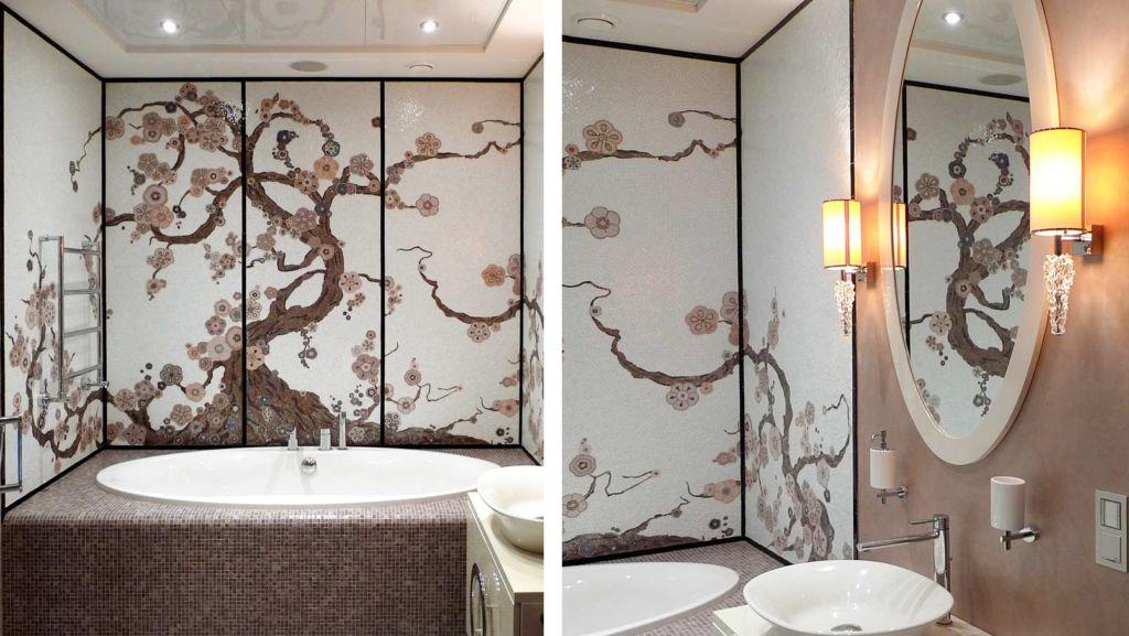 Настенное панно добавляет интерьеру ванной особую изысканность