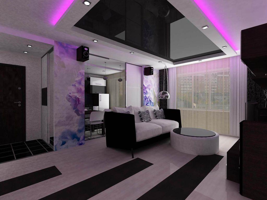 3 вида натяжного потолка в зал и варианты дизайна интерьера