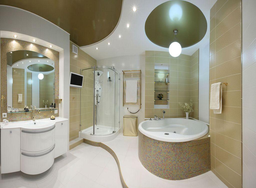 Многоуровневые конструкции помогут зонировать помещение ванной
