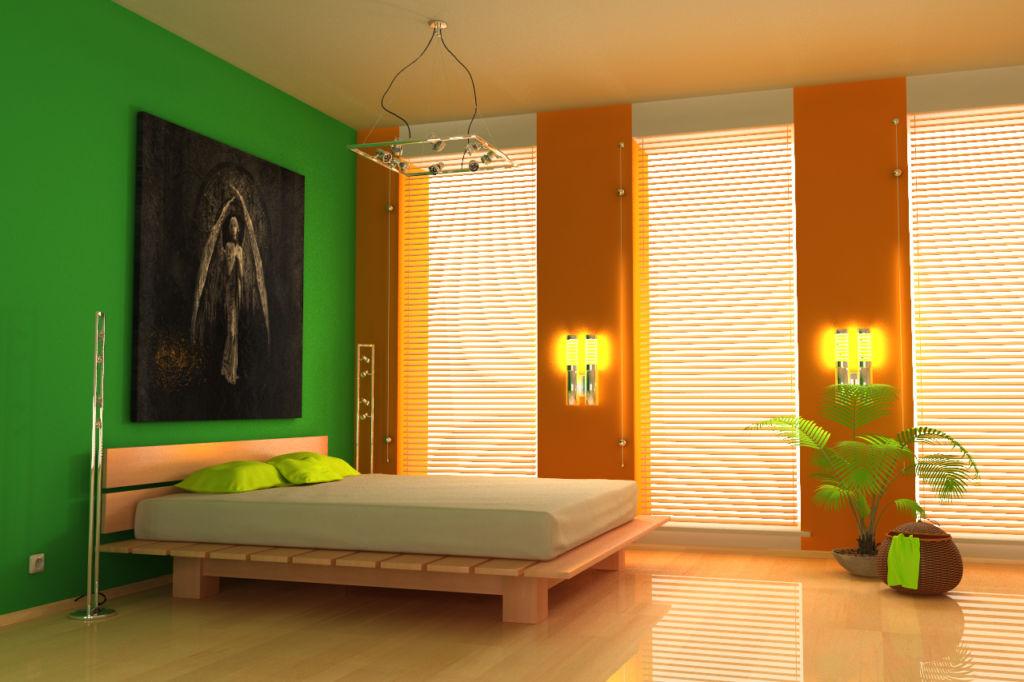 Сочетание зеленого и оранжевого цвета в интерьере