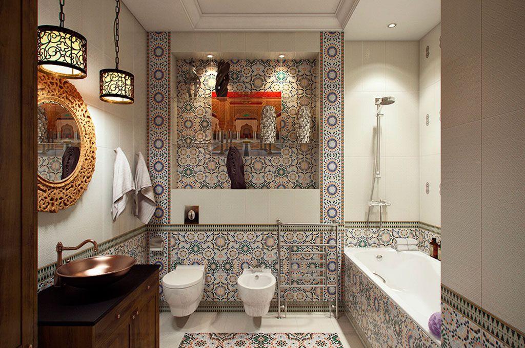 Для ванной в марокканском стиле нужно выбирать красочные бордюры