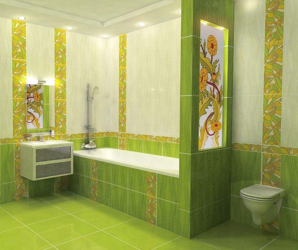 Идеально подчеркнет интерьер в ярких, красочных тонах кафель зеленого цвета