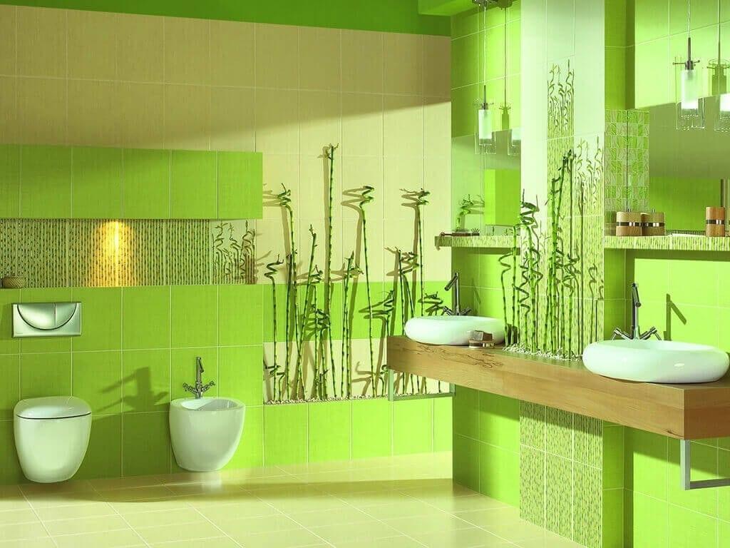 Ванна в сочных травяных и яблочных тонах создаст ощущение бодрости и энергичности