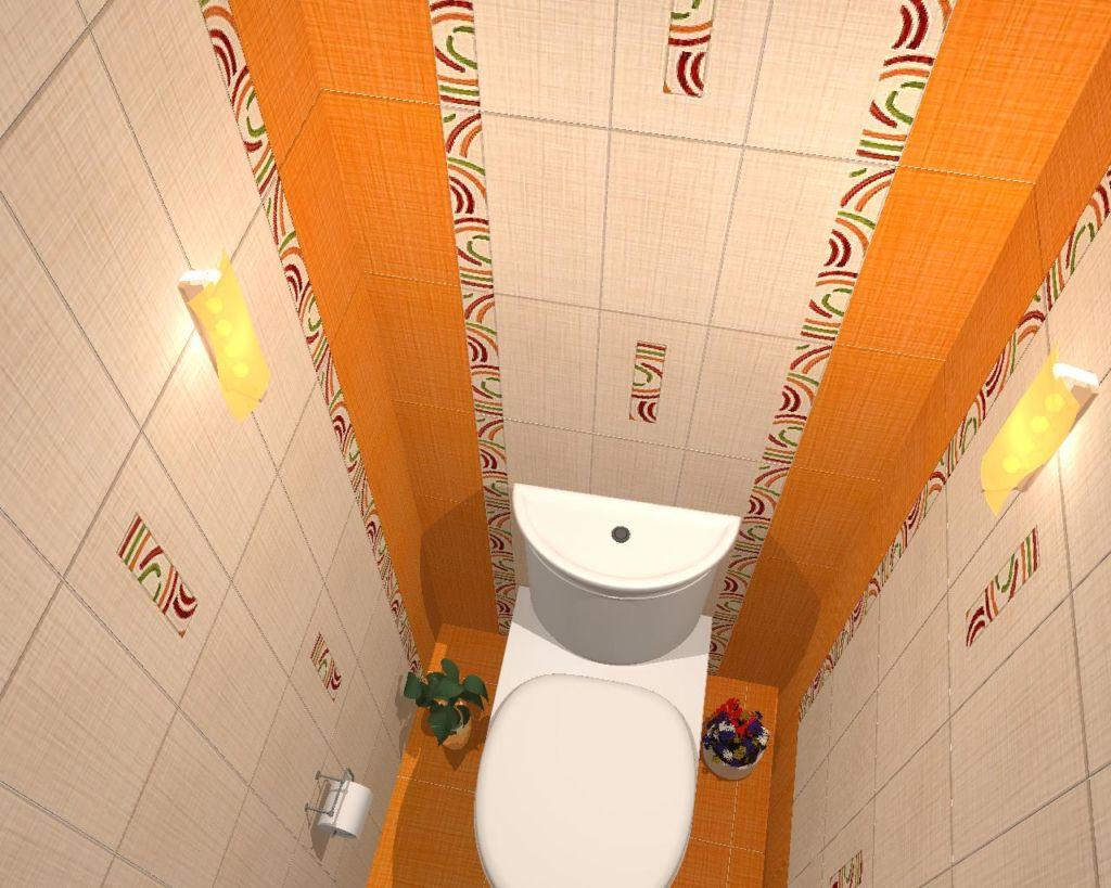 Сочетание белой и оранжевой плитки в оформлении туалета
