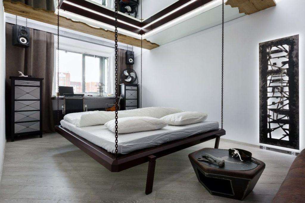 Подвесные кровати в интерьере смотрятся необычно, свежо и креативно