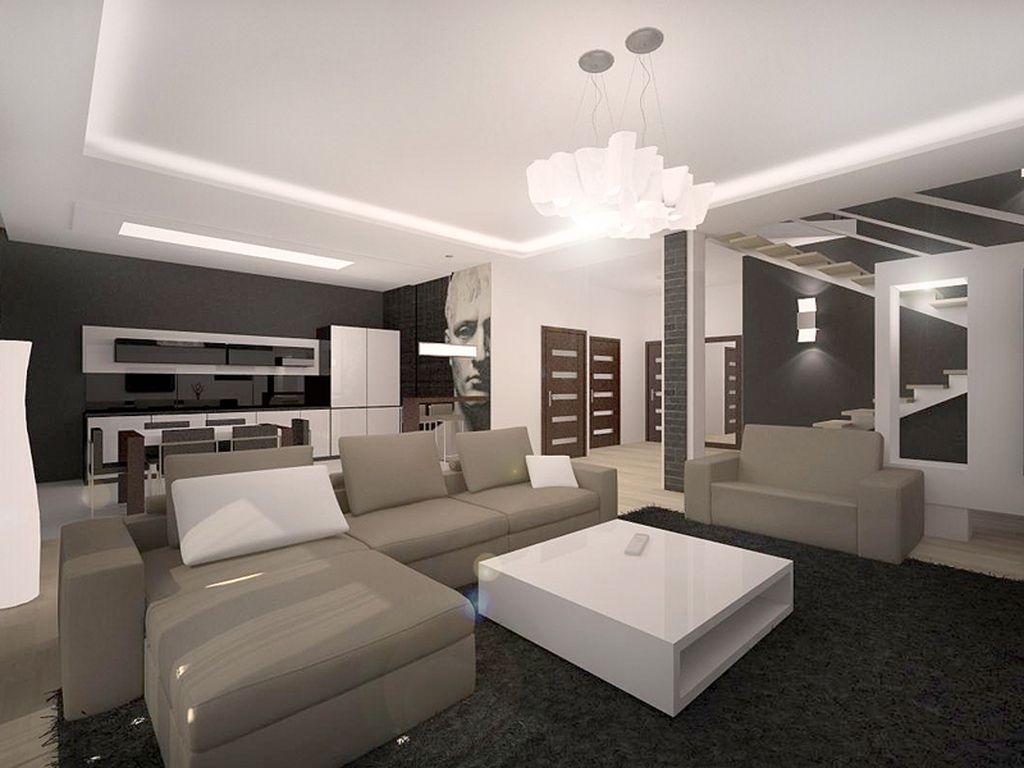 В современном стиле можно оснастить потолок подсветкой