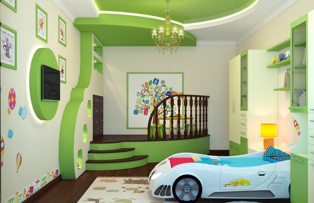 Мятные и светло-зеленые подвесные потолки добавляют интерьеру ощущение свежести