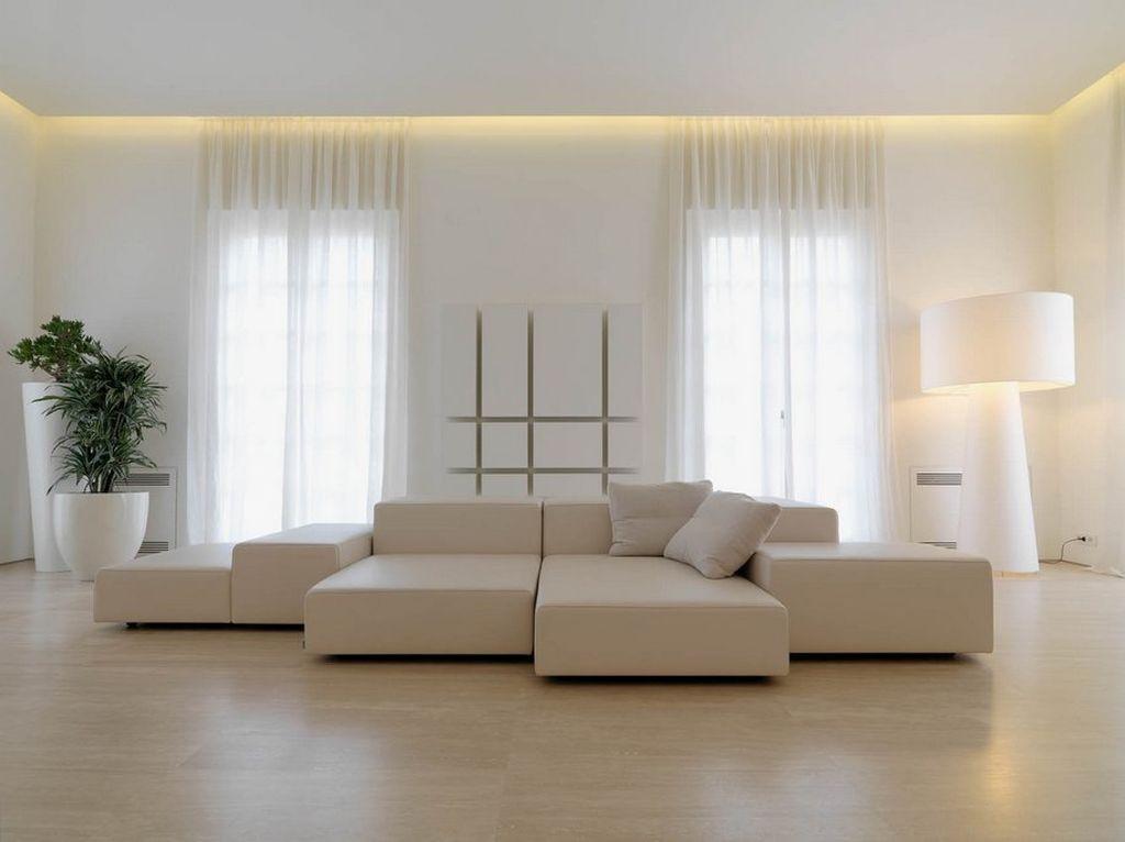 В стиле минимализм следует использовать одноуровневые конструкции