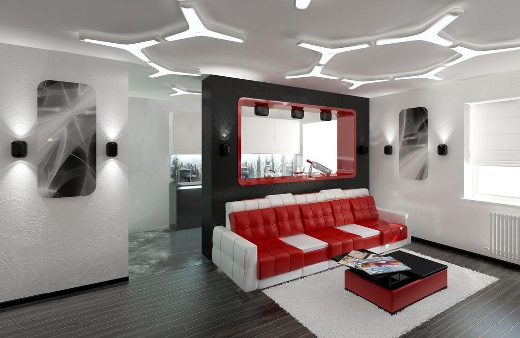 Стилю хай-тек соответствуют фигурные варианты потолка