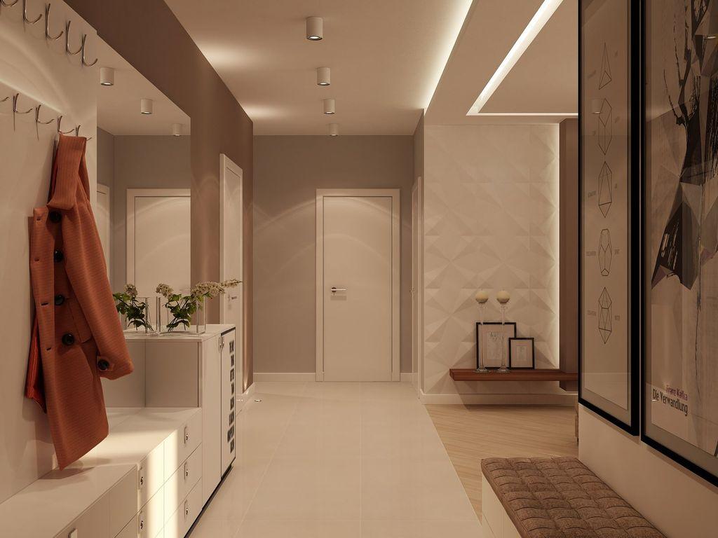 В прихожей удачным вариантом является открытый тип освещения с встроенными светильниками