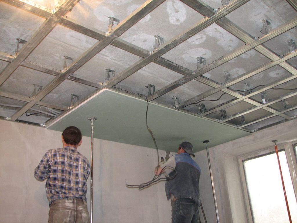 монтаж потолка из гипсокартона цена работы м2