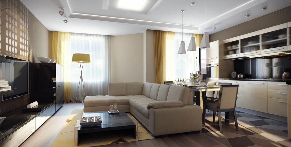 Дизайн кухни студии, совмещенной с гостиной