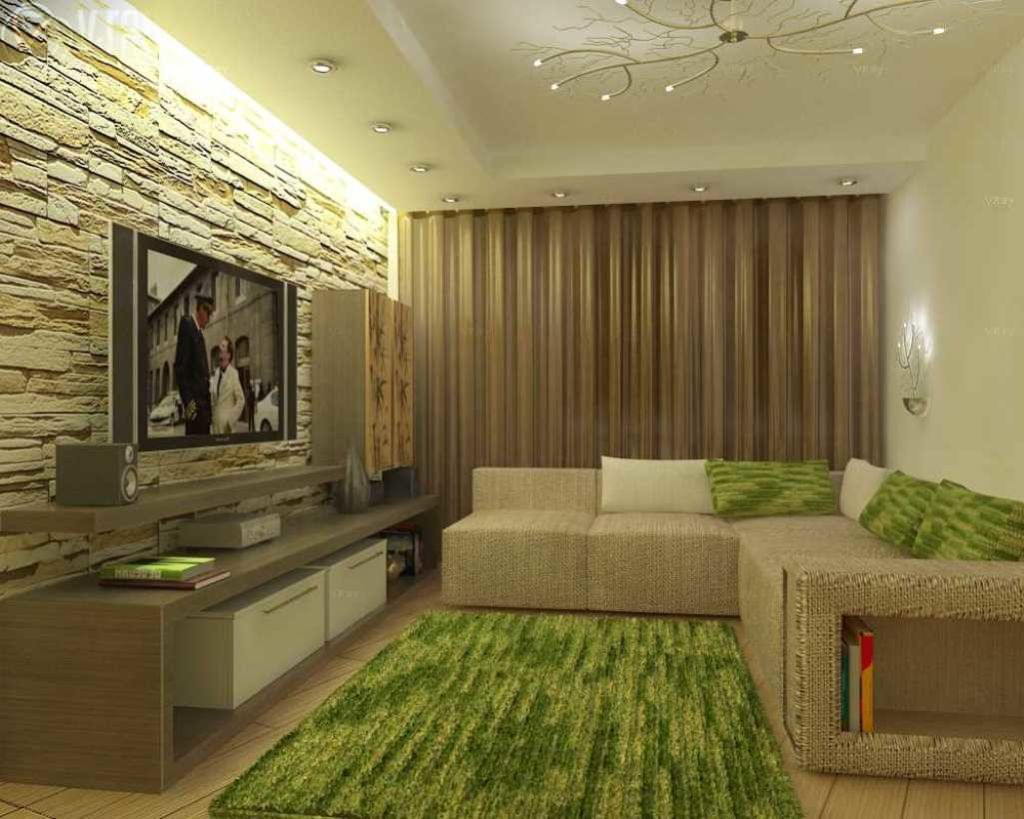 Акцентная стена комнаты с подсветкой