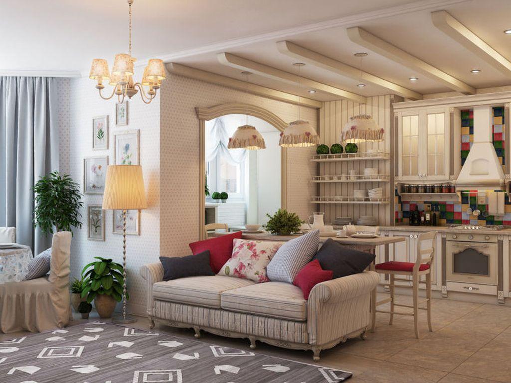 Балки на потолке соответствуют стилю прованс