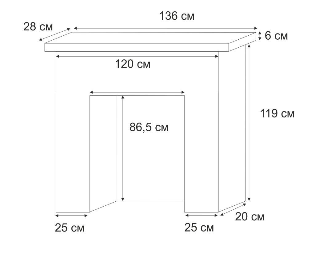 Размеры П-образного камина