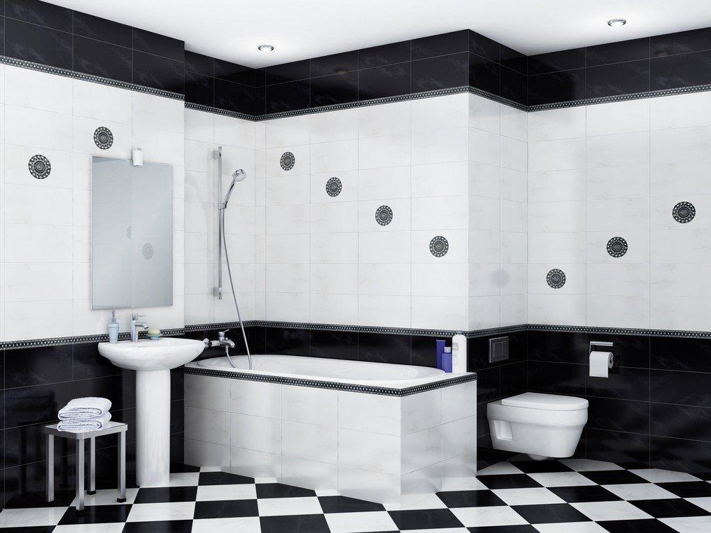 Дизайн черно-белой плитки в ванной комнате