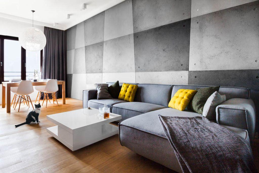 Серый диван в стиле хай-тек должен быть практичным