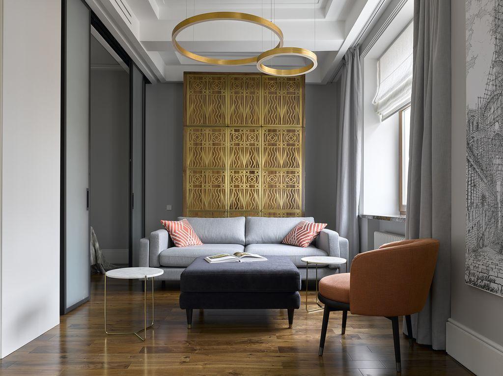 В стиле арт-деко серый цвет будет гармонично смотреться с золотыми и серебряными оттенками