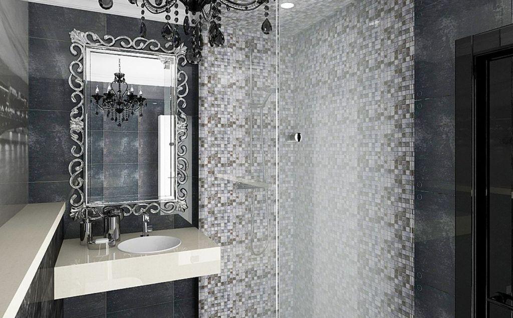 Применяя серый оттенок в ар-деко можно использовать мозаику или глянец