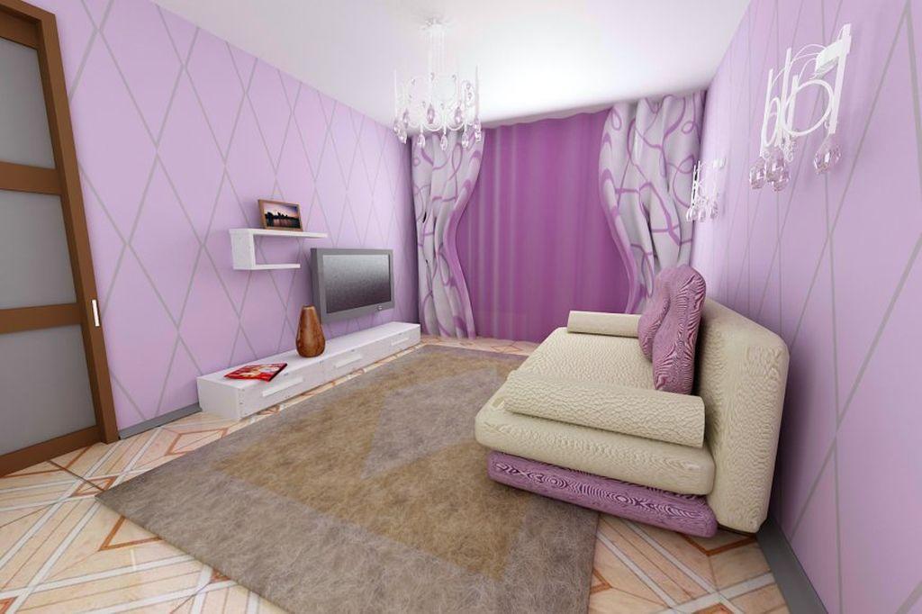 Стены в дизайне такой комнаты могут быть оформлены основным тоном