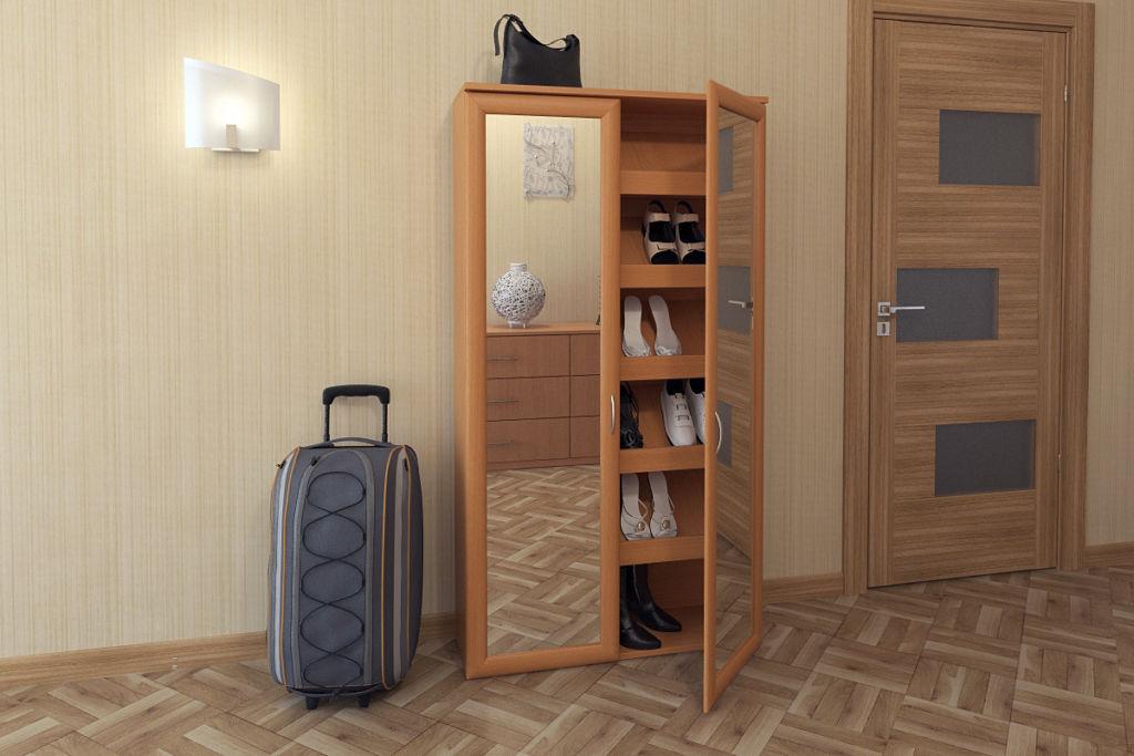 Шкаф слим отличается особо узким размером благодаря хранению обуви под наклоном