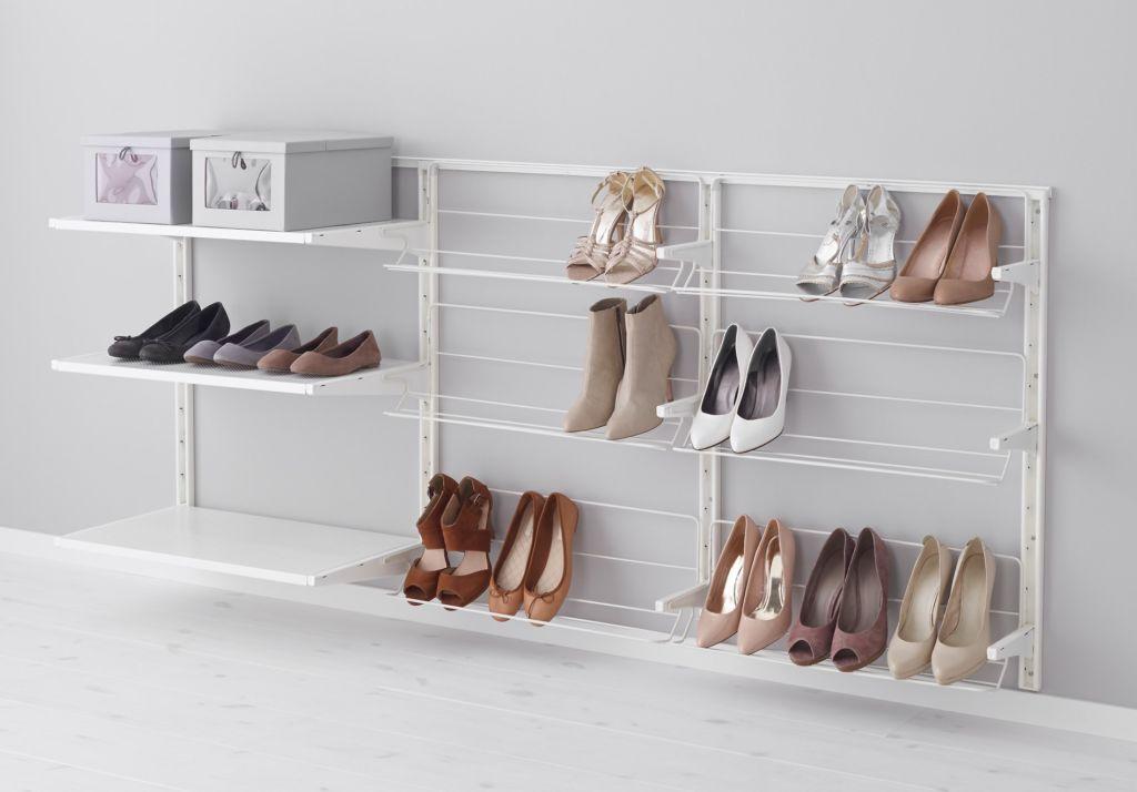 В навесных стеллажах вся обувь должны выглядеть опрятно