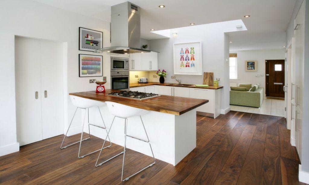 П-образная кухня гостиная
