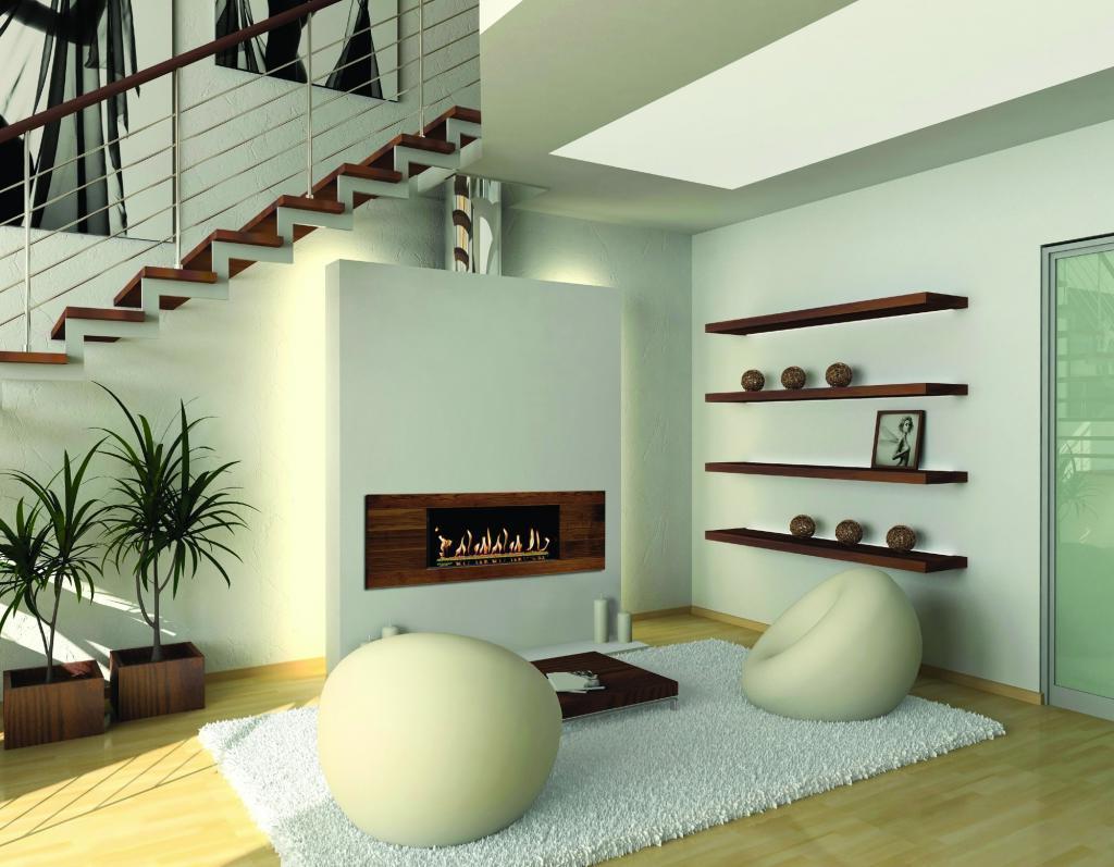 Современный камин под лестницей