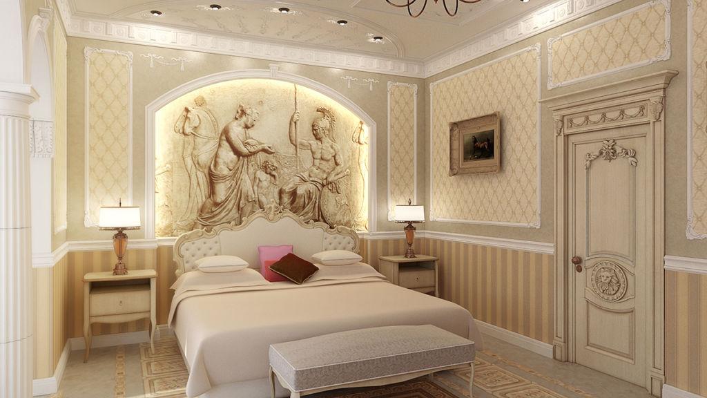 Дизайн характеризуется обилием декоративных элементов, деталей, подразумевает использование дорогих материалов