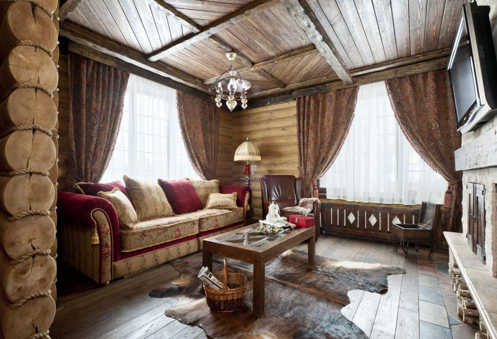 Уютная гостиная, выполненная в стиле кантри