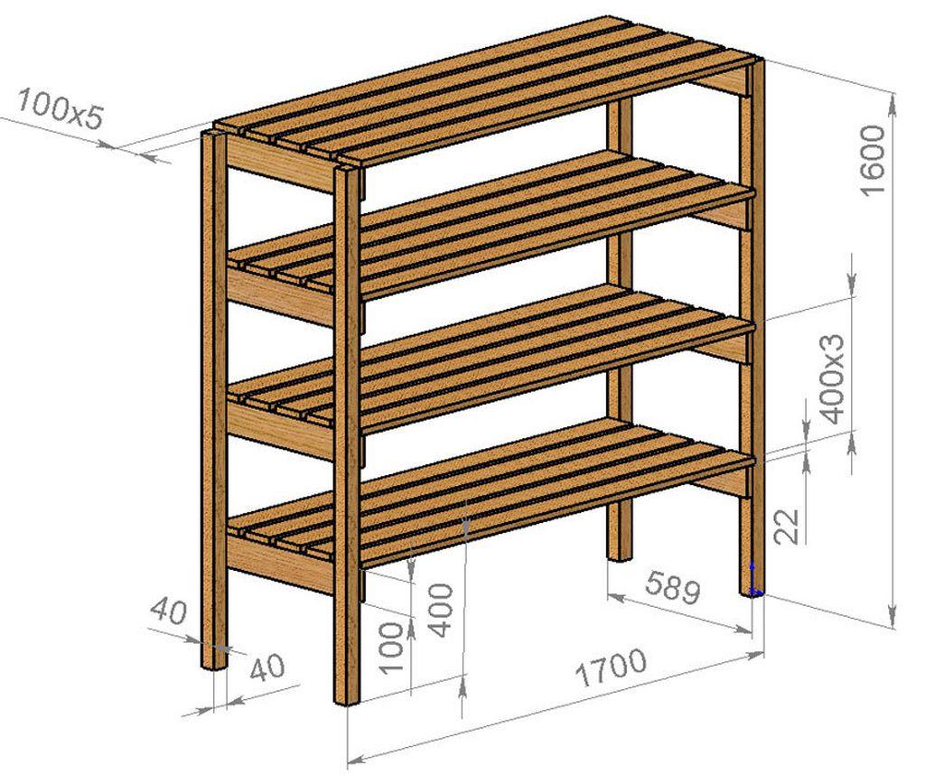 Пример схемы стеллажа из дерева