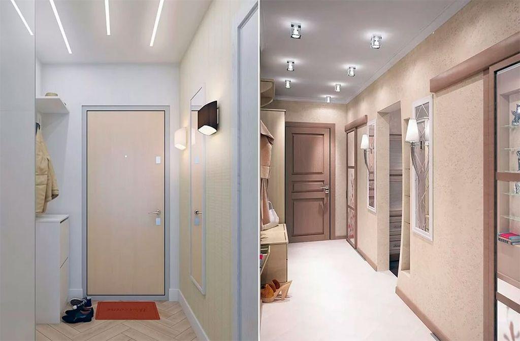 Если потолки низкие, то лучше установить светодиодную ленту или встроенные светильники