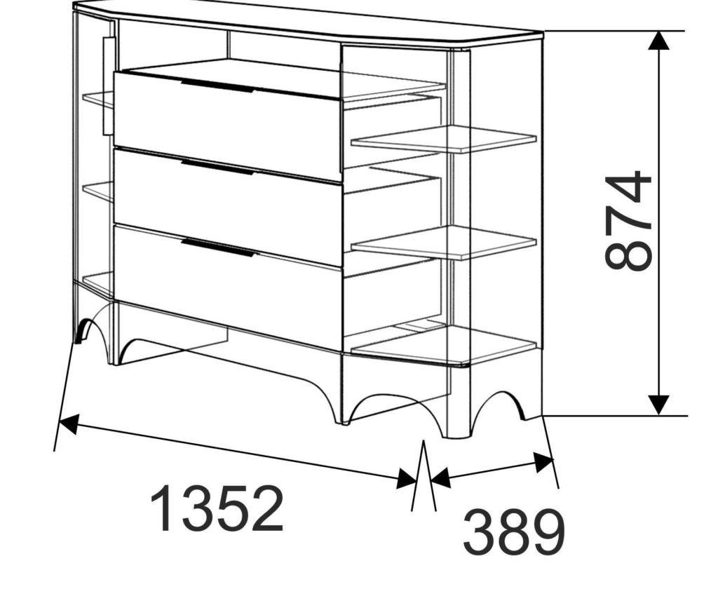 Размер комбинированного комода
