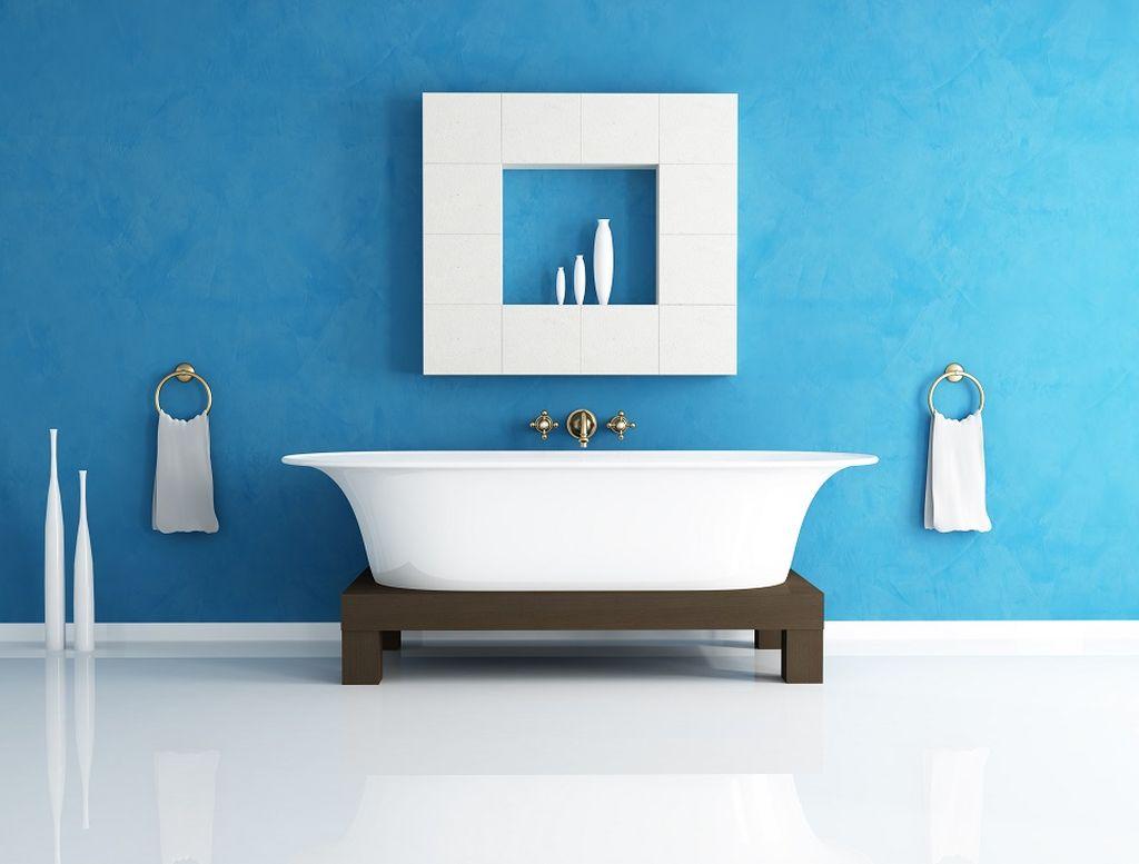 Голубой цвет можно использовать для ванной в средиземноморском стиле