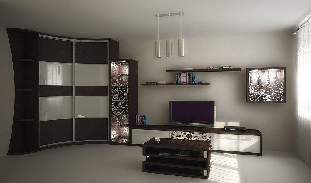Радиусная и диагональная мебель подойдет не для каждой комнаты