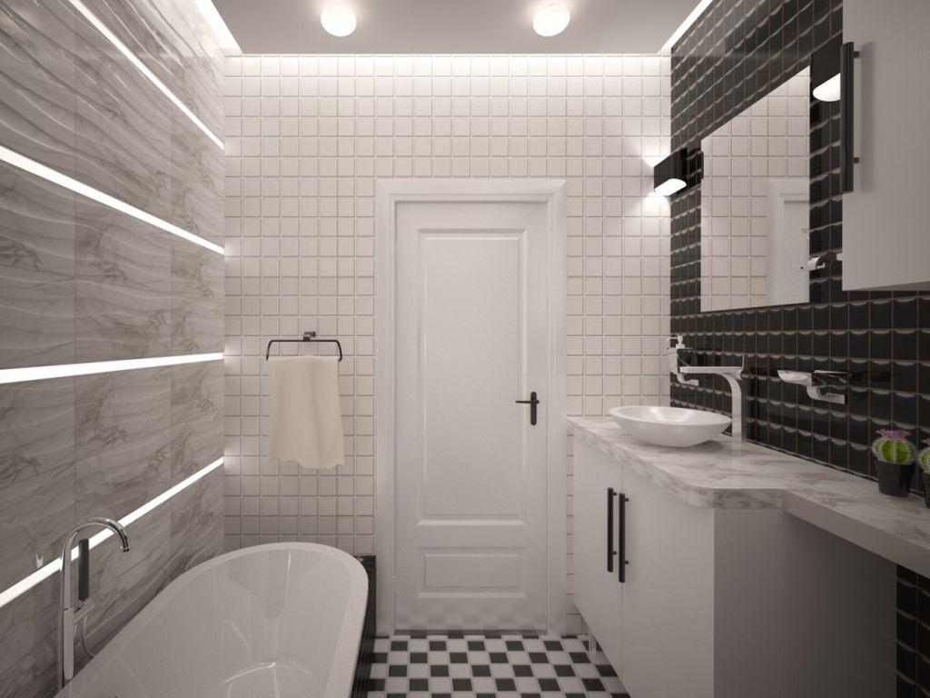 Хай-тек и минимализм хорошо подходят для маленькой ванной