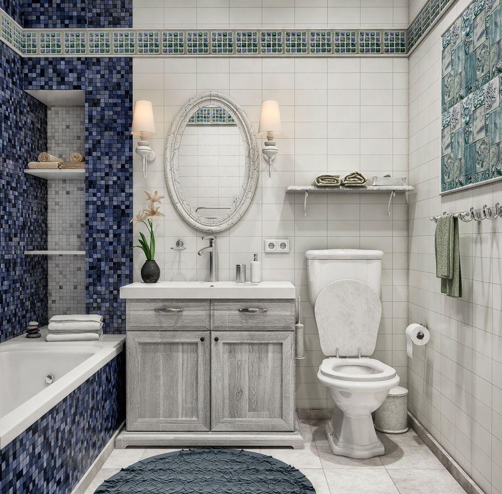 Прованс уместен в такой душевой и ванной
